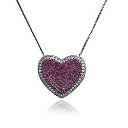 Colar Coração Folheado Ródio Negro com Micro Zircônia Cristal e Pink