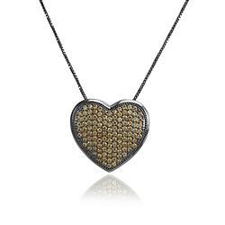 Colar Folheado Ródio Negro com Coração Cravejado de Micro Zircônia Champagne