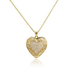 Colar Folheado Ouro 18K Coração com Micro Zircônia Cristal e Detalhes na Borda