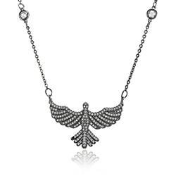 Colar Pássaro Folheado Ródio Negro com Micro Zircônia Cristal e Corrente Tiffany