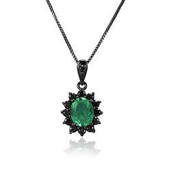 Colar Oval Folheado Ródio Negro com Pedra Fusion Turmalina Verde e Micro Zircônia Negra
