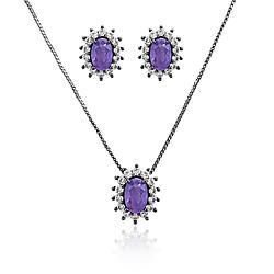 Conjunto Oval Folheado Ródio Negro com Pedra Fusion Premium Ultra Violet e Micro Zircônia Cristal