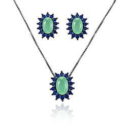 Conjunto Oval Folheado Ródio Negro com Pedra Fusion Premium Turmalina Verde com Micro Zircônia Azul