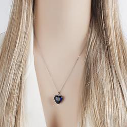 Colar Folheado Ródio Negro com Coração Pedra Fusion Azul Marinho