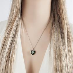 Colar Folheado Ródio Negro com Coração Pedra Fusion Esmeralda