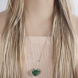 Colar Folheado Ródio com Coração Pedra Fusion Turmalina Verde e Corrente Tiffany