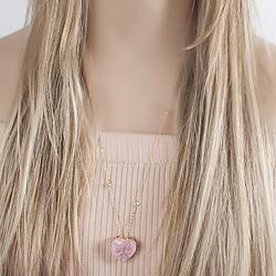 Colar Folheado Ouro 18K com Coração Pedra Fusion Rosa e Corrente Tiffany