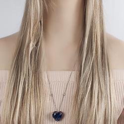 Colar Folheado Ródio Negro com Coração Pedra Fusion Azul Marinho e Corrente Tiffany