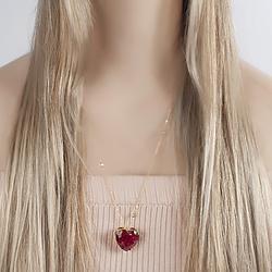 Colar Folheado Ouro 18K com Coração Pedra Fusion Pink e Corrente Tiffany