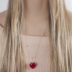 Colar Folheado Ródio com Coração Pedra Fusion Rubi e Corrente Tiffany