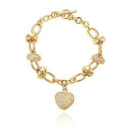 Pulseira Coração com Elos Folheada Ouro 18K e Micro Zircônia Cristal