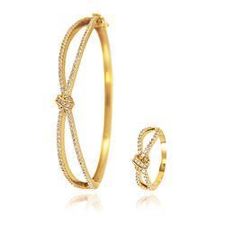 Conjunto Bracelete e Anel Infinito Trançado Folheado Ouro 18K com Micro Zircônia Cristal
