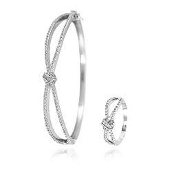 Conjunto Bracelete e Anel Infinito Trançado Folheado Ródio com Micro Zircônia Cristal