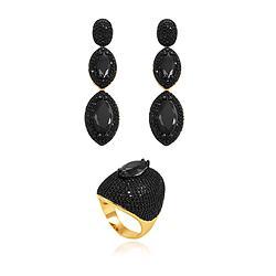 Conjunto Brinco e Anel Folheado Ouro 18K com Navete Central Cristal Negro e Micro Zircônia Negra