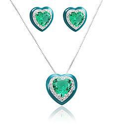 Conjunto Coração Folheado Ródio com Cristal Turmalina Verde e Resina Verde Coleção Ceramic