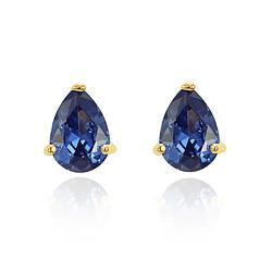 Brinco Gota Folheado Ouro 18K com Cristal Azul Marinho