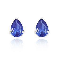 Brinco Gota Folheado Ródio com Cristal Azul Marinho