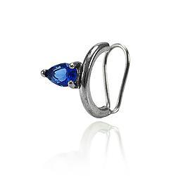Piercing Fake Folheado Ródio Negro com Gota Cristal Azul Marinho