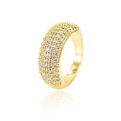 Anel Folheado Ouro 18K com 5 Fileiras de Micro Zircônia Cristal