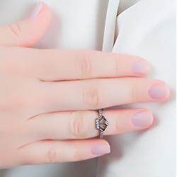 Anel Falange Folheado Ródio Negro Coroa com Micro Zircônia Cristal