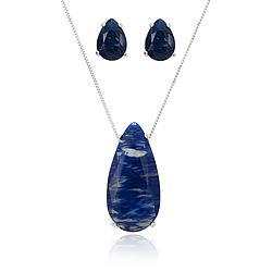 Conjunto Gota Folheado Ródio com Cristal Azul Marinho Rutilado