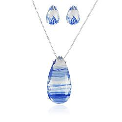 Conjunto Gota Folheado Ródio com Cristal Azul Rutilado