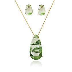 Conjunto Gota Folheado Ouro 18K com Cristal Verde Rutilado