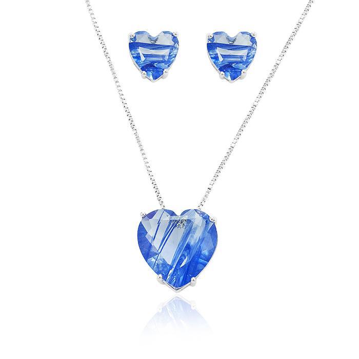 Conjunto Coração Folheado Ródio com Cristal Azul Rutilado