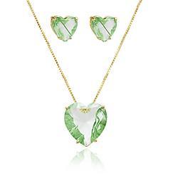 Conjunto Coração Folheado Ouro 18K com Cristal Verde Rutilado