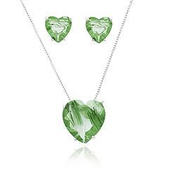 Conjunto Coração Folheado Ródio com Cristal Verde Rutilado