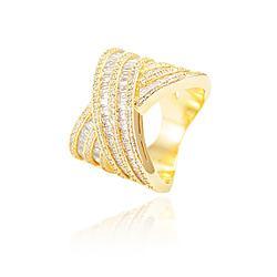 Anel X Folheado Ouro 18K com Cristal Baguete e Micro Zircônia Cristal