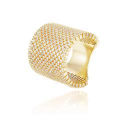 Anel Folheado Ouro 18K Cravejado com Micro Zircônia Cristal