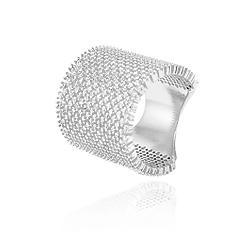 Anel Folheado Ródio Branco Cravejado com Micro Zircônia Cristal