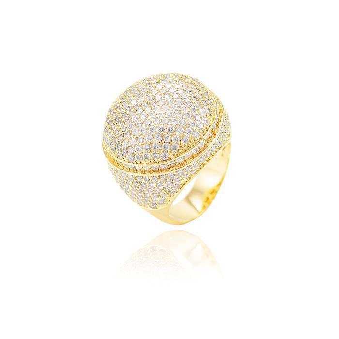 75ef6f68aeb Anel Redondo Folheado Ouro 18K Cravejado com Micro Zircônia Cristal ...