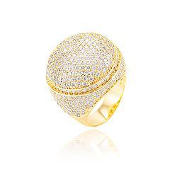 Anel Redondo Folheado Ouro 18K Cravejado com Micro Zircônia Cristal