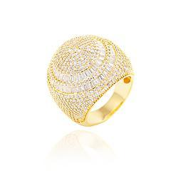 Anel Folheado Ouro 18K com Detalhes de Zircônia Baguete Cristal e Micro Zircônia