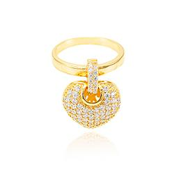 Anel Folheado Ouro 18K Coração Cravejado com Micro Zircônia Cristal