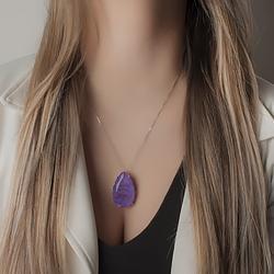 Colar Gota Folheado Ródio com Pedra Fusion Premium Ultra Violet