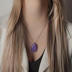 Colar Gota Folheado Ródio Negro com Pedra Fusion Premium Ultra Violet