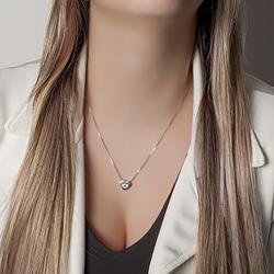 Pingente Colar Heart Menina Folheado Ródio com Micro Zircônia Cristal