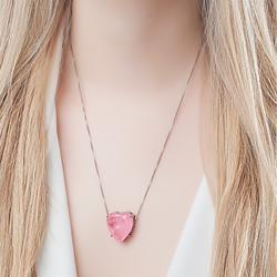Conjunto Coração Folheado Ródio Negro com Pedra Fusion Premium Rosa