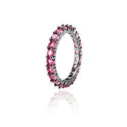 Anel Folheado Ródio Negro Cravejado com Zircônia Pink