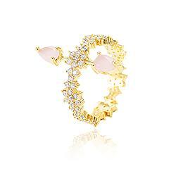 Anel Folheado Ouro 18K com Gotas Rosa Leitoso e Micro Zircônia Cristal
