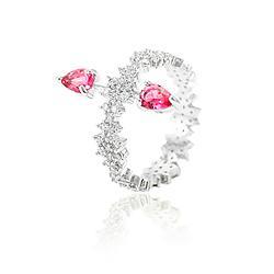Anel Folheado Ródio com Gotas Pink e Micro Zircônia Cristal