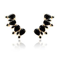 Brinco Ear Cuff Folheado Ouro 18K com Gota Cristal Negro