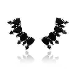 Brinco Ear Cuff Folheado Ródio Negro com Gota Cristal Negro