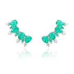 Brinco Ear Cuff Folheado Ródio com Cristal Gota Turmalina Verde