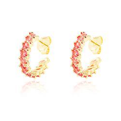 Brinco Meia Argola Folheado Ouro 18K com Cristal Navete Pink