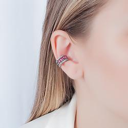 Piercing Fake Folheado Ródio Negro com Baguete Pink e Micro Zircônia Cristal