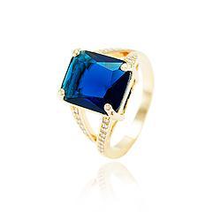 Anel Folheado Ouro 18K com Cristal Quadrado Azul Marinho e Micro Zircônia Cristal